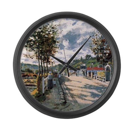 Monet The Seine at Bougival Large Wall Clock