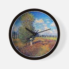 Monet Poppy Field In Summer Wall Clock