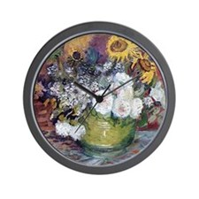 Van Gogh Roses And Sunflowers Wall Clock