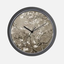 Almond Branches In Bloom (Sepia) Wall Clock