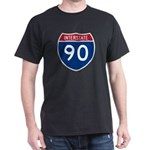 I-90 Interstate Hwy Black T-Shirt