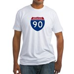 I-90 Interstate Hwy Fitted T-Shirt