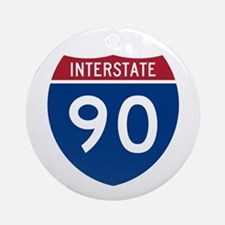 I-90 Interstate Hwy Ornament (Round)