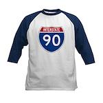 I-90 Interstate Hwy Kids Baseball Jersey