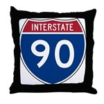 I-90 Interstate Hwy Throw Pillow