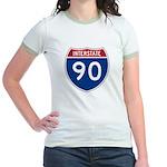 I-90 Interstate Hwy Jr. Ringer T-Shirt
