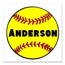 """Personalized Softball Square Car Magnet 3"""" x 3"""""""