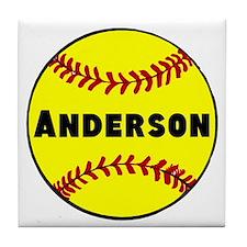 Personalized Softball Tile Coaster