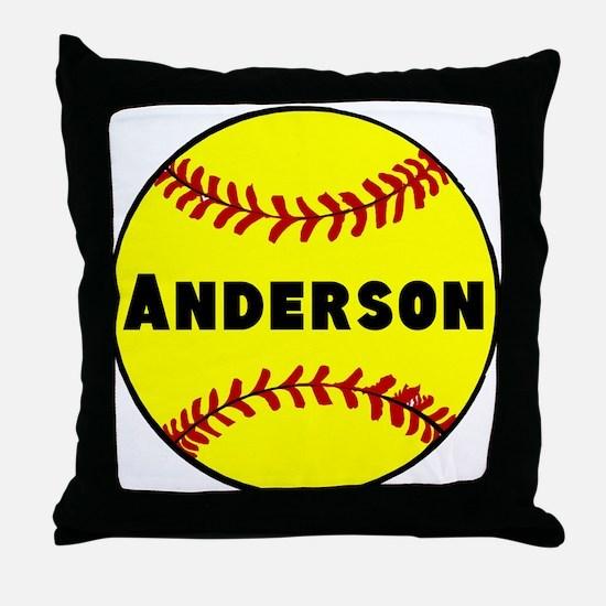 Personalized Softball Throw Pillow