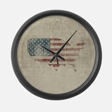 Vintage USA Flag / Map Large Wall Clock