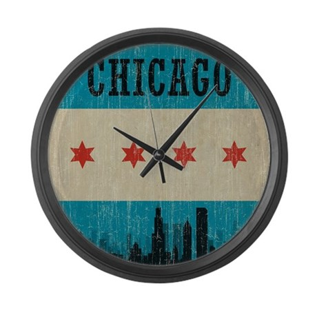 Vintage Chicago Skyline Large Wall Clock