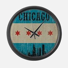 Vintage Chicago Skyline Large Wall Clock