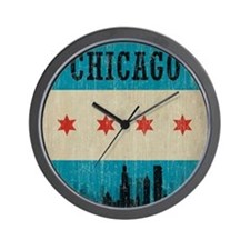 Vintage Chicago Skyline Wall Clock