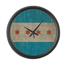 Vintage Chicago Flag Large Wall Clock