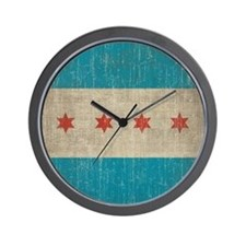 Vintage Chicago Flag Wall Clock