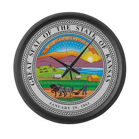 Kansas Seal Large Wall Clock