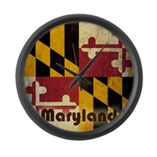 Grunge Maryland Flag Large Wall Clock
