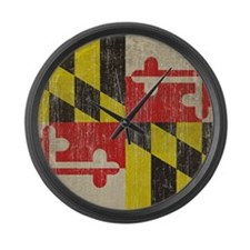 Vintage Maryland Flag Large Wall Clock