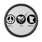 Peace Love Minnesota Large Wall Clock