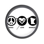 Peace Love Minnesota Wall Clock