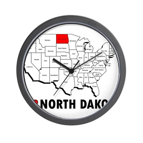 I Love North Dakota Wall Clock