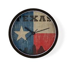 Vintage Texas Skyline Wall Clock