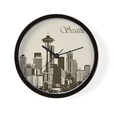 Awesome Seattle Skyline Wall Clock
