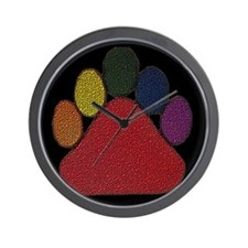 RAINBOW DIMPLED BEARPAW ON BLK Wall Clock