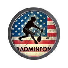 Grunge USA Badminton Wall Clock