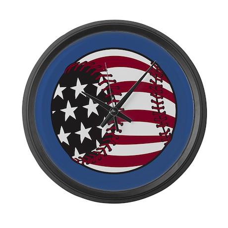 America Baseball Large Wall Clock
