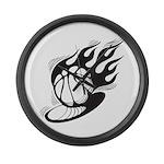 Flaming Basketball Large Wall Clock