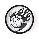 Flaming Basketball Wall Clock
