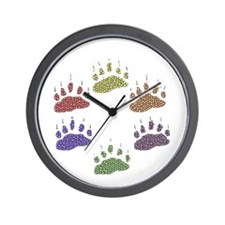 6 RAINBOW BEAR PAWS Wall Clock