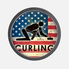 Grunge USA Curling Wall Clock