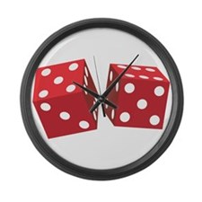 Retro Red Dice Large Wall Clock