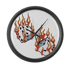 Flaming Dice Large Wall Clock