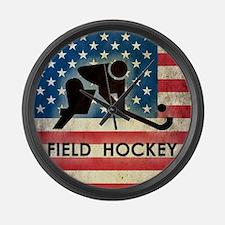 Grunge USA Field Hockey Large Wall Clock