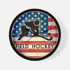 Grunge USA Field Hockey Wall Clock