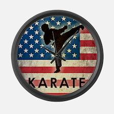 Grunge USA Karate Large Wall Clock
