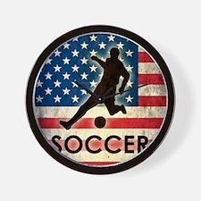 Grunge USA Soccer Wall Clock
