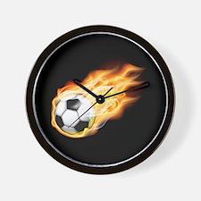 Fiery Soccer Ball Wall Clock