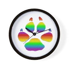 RAINBOW STRIPED TILE LOOK BEAR PAW Wall Clock