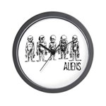 Hand Sketched Aliens Wall Clock