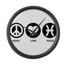 Peace Love Pisces Large Wall Clock