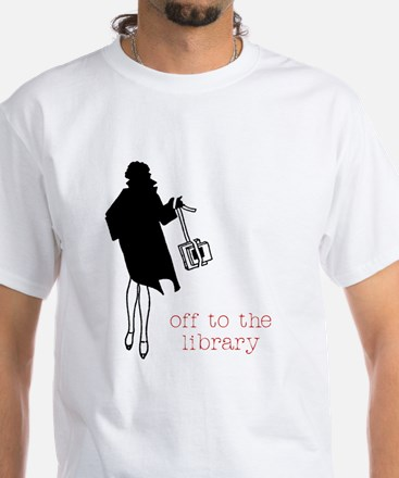 Off to the Library White T-Shirt