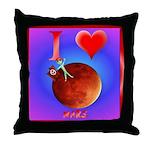 I Love Mars Throw Pillow