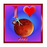 I Love Mars Tile Coaster