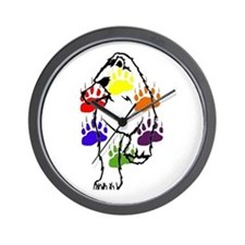 WALKING BEAR-6 RAINBOW BEAR PAWS Wall Clock