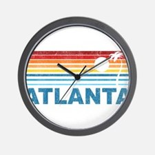 Retro Palm Tree Atlanta Wall Clock