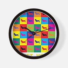 Pop Art Basset Hound Wall Clock
